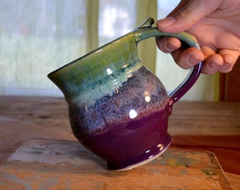 Made to order Coffee mug ceramic, tea cup pottery, glazed in purple and green, handmade stoneware by hughes pottery hand made