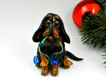 Black and Tan Coonhound Dog Christmas Ornament Figurine Porcelain Clay Lights