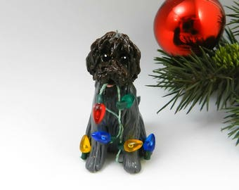 Wirehaired Pointing Griffon Christmas Ornament Figurine Lights Porcelain