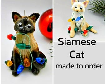 Siamese Cat PORCELAIN Christmas Ornament Figurine Made to Order