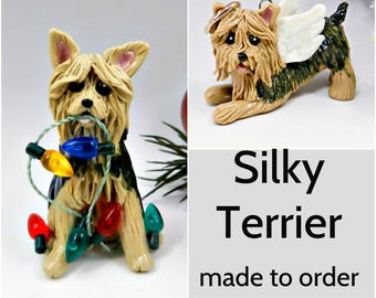 Silky Terrier Dog Porcelain Christmas Ornament Figurine Made to Order