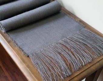 12 - 14 inch wide GRAY Burlap Runner with Fringe  - Light Medium or Dark Gray - Ivory - Natural