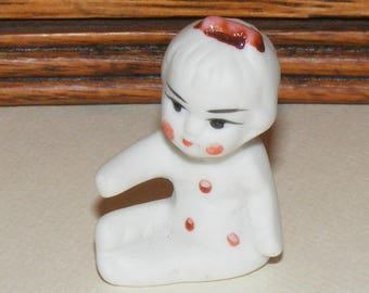 Vintage Sitting Small Bisque Baby in Polka Dots Doll Figure