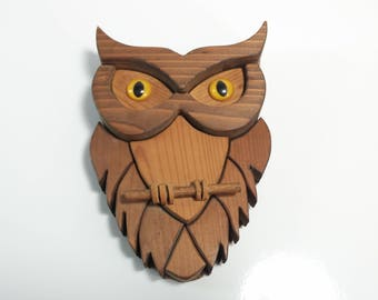 Vintage Hand Made Wooden Owl Yellow Eye Owl