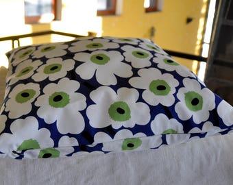 Marimekko cushion cover, White Unikko on dark blue background