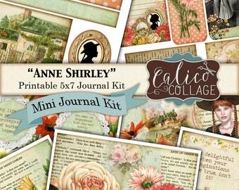 Anne Shirley, Anne of Green Gables, Mini Kit, Junk Journal Kit, Printable Journal, Printable, Journal Kit, Digital paper, Vintage Flowers