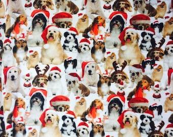 Christmas puppies 1 yard cotton lycra knit