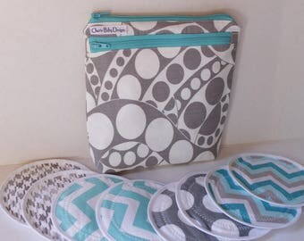 Wet dry bag,  Nursing pad pouch, and/or 4 pairs nursing breast pads, zippered pouch