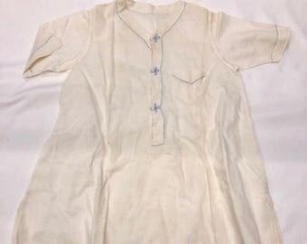 Antique 1920 White with Blue Embroidered Design, Undergarment, Sleeper