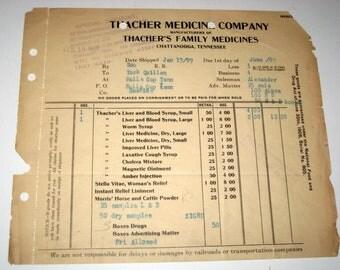 Antique (1909) Ephemera - Medicine Company Drug Pharmacy Receipt