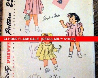 """Vintage Simplicity Sewing Pattern #2563; Child's Size 1; """"Simple-to-Make""""; 1946 Dress, coat and bonnet - PATTERN IS COMPLETE with transfer"""
