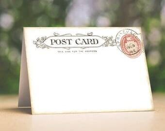 Wedding Place Cards Vintage Postcard Tent Style Place Cards or Table Place Cards #302