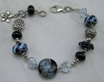 Artisan Lampwork, Swarovski Crystals and Sterling Silver Bracelet