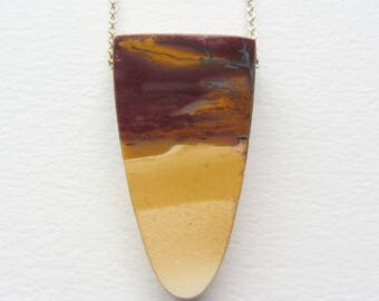 Long Mookaite Jasper Yellow and Red Ombre Natural Stone Made in Seattle - Colorful Summer Necklace - Bright Jewelry Statement Necklace Bold