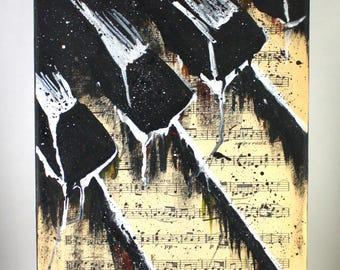 Piano on Sheet Music, Watercolor, 12 x 9, Wall Art Musician