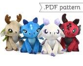 Floppy Dragon Plush Sewing Pattern .pdf Tutorial Elemental Monster Posable