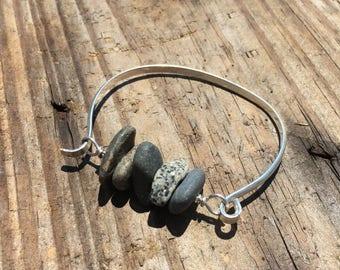 Beach Stone Bracelet, granite, basalt, drilled stone, pebble, river rock, cuff, multi-stone, sterling silver bracelet, summer, sea, ocean