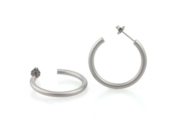 Large round hoop earrings, natural satin titanium 100% hypoallergenic for sensitive ear