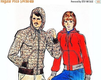 on SALE 25% Off 1970s Hoodie Jacket Pattern Misses size 12 14 Medium Hooded Jacket for Women Sewing Pattern