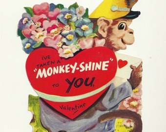 "1940s Embossed Valentine Card & Envelope - Unused - ""Monkey Shine"""