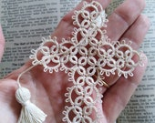 Natural Cross Bookmark Tatted Lace Tatting with Coton Crochet thread