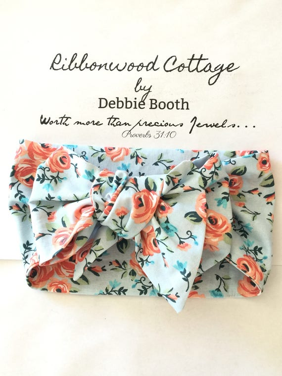 Baby HeadWrap - Pale Blue and Peach Coral Floral Design