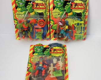 3 Toxic Crusaders, 1991 Vintage Action Figures, MOC, Mint, NOS Toxie Junkyard and Bonehead, Kids Against Pollution