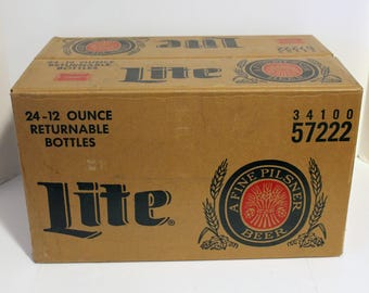 Miller Lite Beer Case Box Only, 1950s Waxed Heavy Cardboard