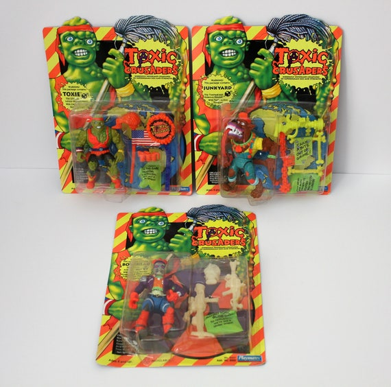 3 Toxic Crusaders, 1991 Vintage Action Figures, MOC, NOS Toxie Junkyard and Bonehead, Kids Against Pollution