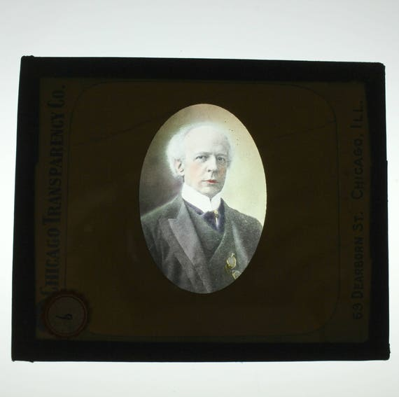 Hon. Wilfrid Laurier Prime Minister Canada Glass Magic Lantern Slide, Antique Photo