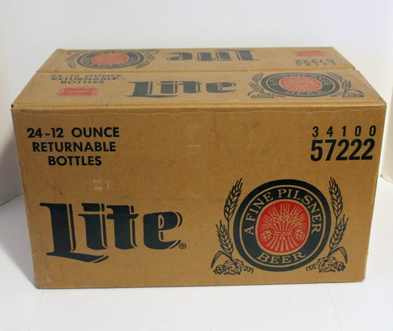Vintage Miller Lite Beer Case Box Only, 1950s Waxed Heavy Cardboard