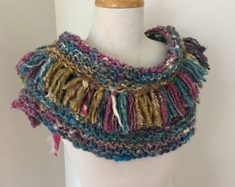 Scarf, collar Hand Spun Hand Knit dusty muted shades of pink blue and light brown merino, alpaca silk mix