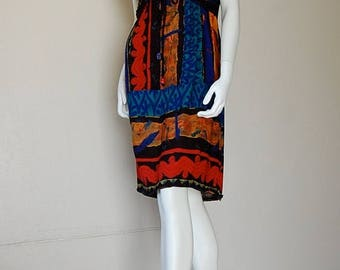 SALE 25% off sundays Grunge Baby Doll Vintage 90s Black Graphic Paisley Indie Boho Grunge Midi Baby Doll Dress (s m)