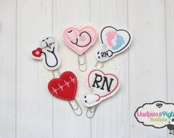 Planner Paper Clips, Nurse, Stethoscope, Registered Nurse, planner accessories, bookmark, nursing student, RN, medical professional