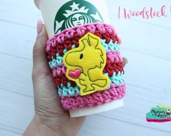 Snoopy bird Cup Cozy { Woodstock } pink, red valentine's day crochet coffee sleeve, knit mug sweater, starbucks gift, frappuccino holder