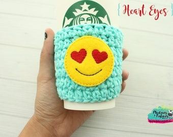 Crochet cup cozy { Heart Eyes } emoji, valentine's day gift, love knit mug sweater, crochet coffee sleeve, frappuccino cup holder