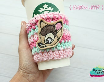 Coffee Cup Cozy { Bambi } rabbit, bunny, mint bubblegum pink, tsum tsum coffee sleeve, birthday, stocking stuffer, mug starbucks, crochet