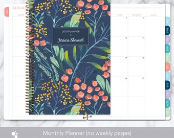 MONTHLY PLANNER | 2018 2019 no weekly view | choose your start month | 12 month calendar monthly tabs personalized | navy watercolor floral