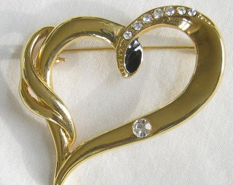 Gold Tone With Rhinestones and Black Enamel Modernist Heart  Pin or Brooch