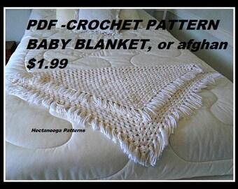 CROCHET PATTERN, Baby Blanket, Bed Throw, Bath Mat, Chair Throw, Shawl, Floor mat, afghan- # 995