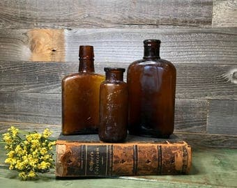 Amber Colored BOTTLES- Antique Brown Bottle Lot- Bromo-Lithia- Philadelphia Bottle- Medicinal Apothecary- B54