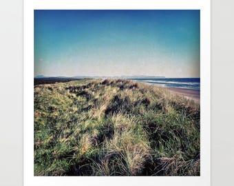Oregon Coast Art Print, beach landscape, sand dunes, Fort Stevens, Pacific Ocean, nautical photography, square photograph, coastal decor