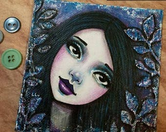 Original Mixed Media Portrait Painting by Lisa Lectura