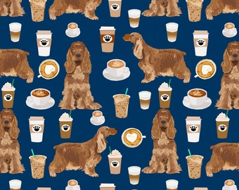 Cocker Spaniel Fabric - Cocker Spaniel Coffee Dogs And Lattes - Navy By Petfriendly - Cafe Dog Cotton Fabric by the Yard with Spoonflower