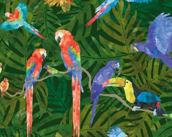 Rainforest Birds Fabric - Rainforest Birds By Kritterstitches - Rainforest Birds Nursery Decor Cotton Fabric By The Yard With Spoonflower