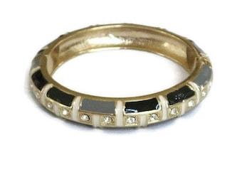 SALE Enamel and Rhinestone Bangle Bracelet Vintage Clamper Black, Gray & Cream