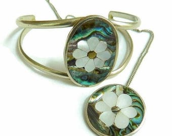 SALE Mother of Pearl and Abalone Bracelet and Pendant Set Mexico Silver Flower Vintage