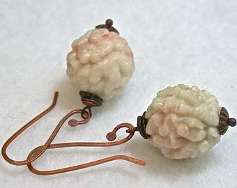 Vintage Serpentine Carved White Pink Buddha Bead Earrings Dangle Drop Lohan- Handmade Rose Copper French Ear wires S - GIFT WRAPPED