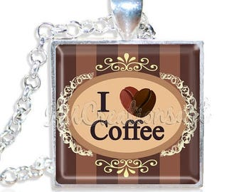 "20% OFF - Coffee Lovers 1"" Square Glass Pendant or with Necklace - SQ162"