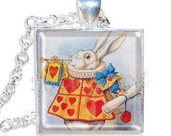 """20% OFF - Alice In Wonderland White Rabbit 1"""" Square Glass Pendant or with Necklace - SQ165"""